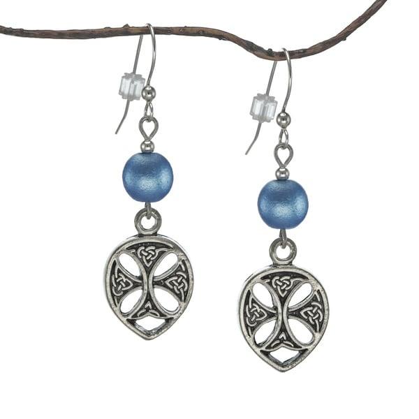 Handmade Jewelry by Dawn Blue Satin Glass Pewter Celtic Teardrop Earrings (USA)