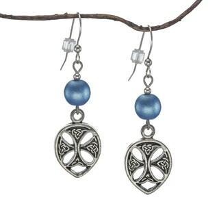 Jewelry by Dawn Blue Satin Glass Pewter Celtic Teardrop Earrings