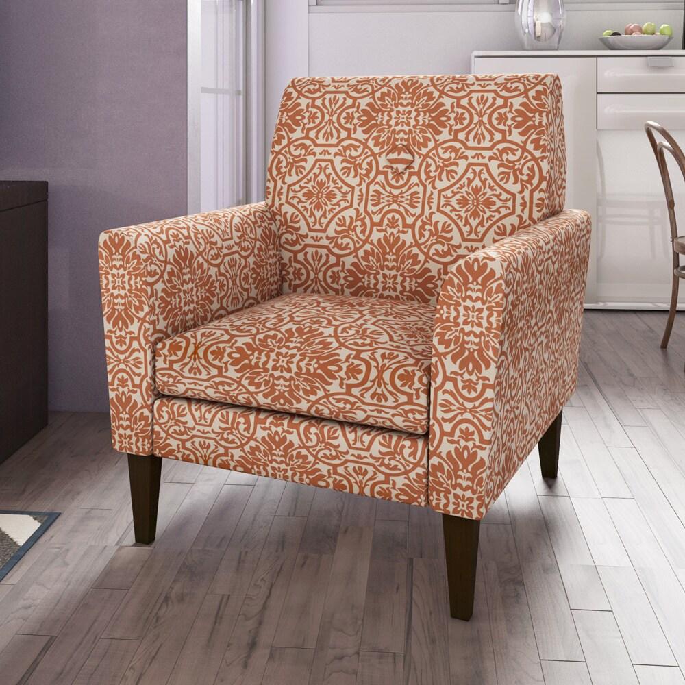 Orange damask chair - Highland Zuni Orange Damask Arm Chair
