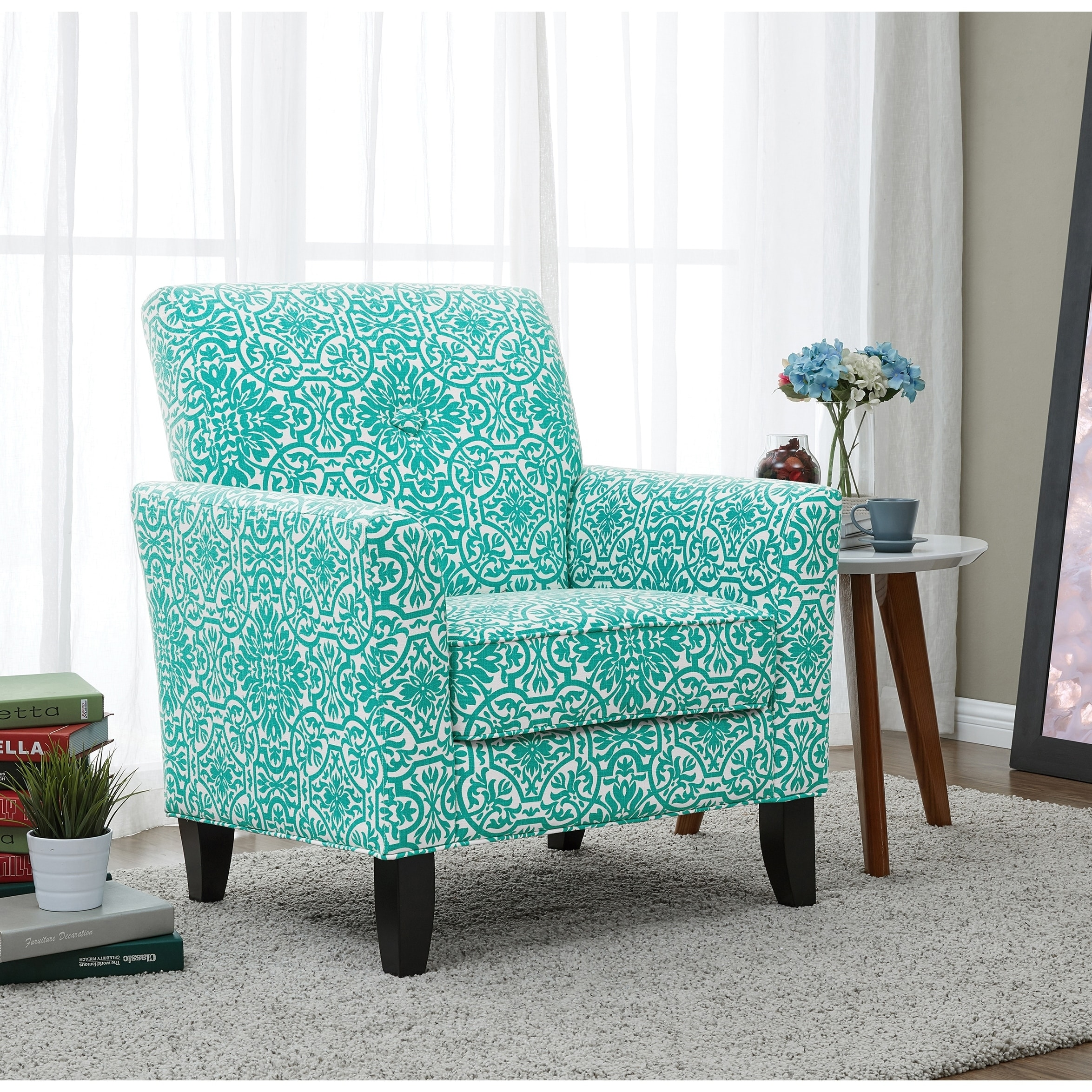 Shop Handy Living Alex Turquoise Damask Arm Chair On Sale Overstock 12863436