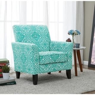 Portfolio Alex Turquoise Damask Arm Chair