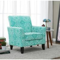 Handy Living Alex Turquoise Damask Arm Chair