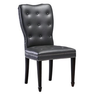 Lucca Grey Faux Leather and Birch Wood Accent Chair
