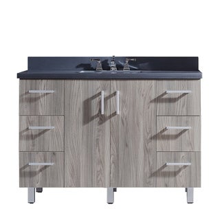 """48"""" Bathroom Vanity with Grey Artificial Marble Top in Grey Walnut WoodTexture Finish"""