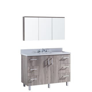 """48"""" Bathroom Vanity with Phoenix White Artificial Marble Top in Grey Walnut WoodTexture Finish with matching Medicine Cabinet"""