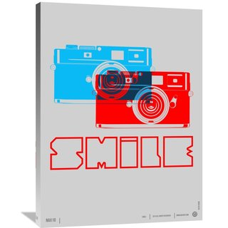 Naxart Studio 'Smile Camera Poster' Giclee on Stretched Canvas Wall Art
