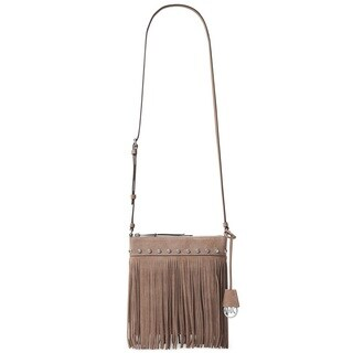 Michael Kors Suede Billy Fringe Small Dark Dune Crossbody Handbag