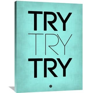 Naxart Studio 'Try Try Try' Blue/Black Canvas Wall Art