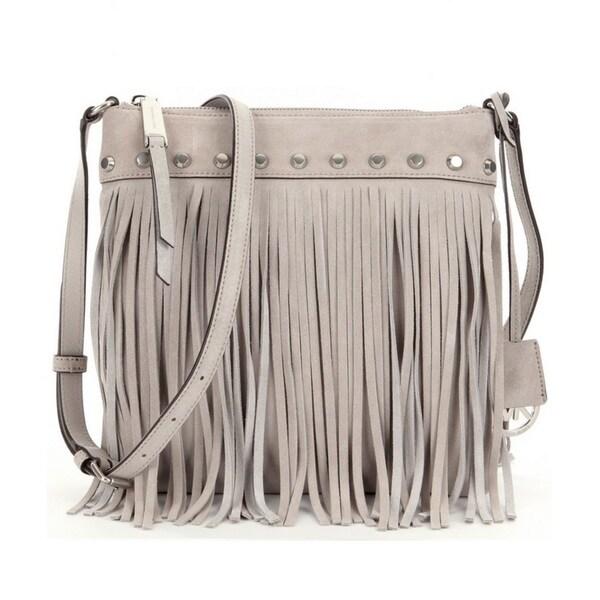 cbe13ffb0670b7 Shop Michael Kors Suede Billy Fringe Small Cement Crossbody Handbag ...