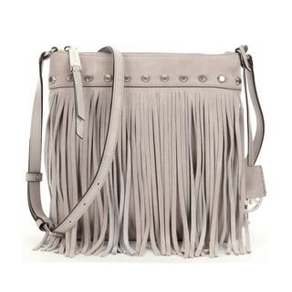 Michael Kors Suede Billy Fringe Small Cement Crossbody Handbag