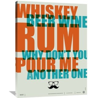 Naxart Studio 'Whiskey, Beer, and Wine Poster' Stretched Canvas Wall Art