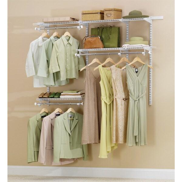 Rubbermaid FG3H1102WHT 3 6u0026#x27; Classic Closet Kit White Finish