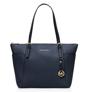 Michael Kors Jet Set Large Admiral Blue Top-Zip Saffiano Leather Tote Bag