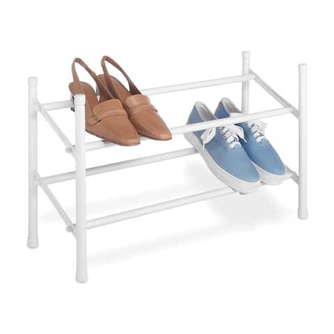 """Whitmor 6023-210 24""""-45"""" White Stackable & Expandable Shoe Rack"""