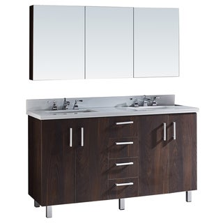 """60"""" Bathroom Vanity with Phoenix White Artificial Marble Top in Brown Elm Wood Texture Finish with matching Medicine Cabinet"""
