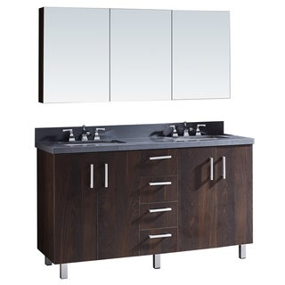 """60"""" Bathroom Vanity with Grey Artificial Marble Top in Brown Elm Wood Texture Finish with matching Medicine Cabinet"""