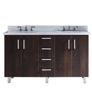 """60"""" Double-sink Bathroom Vanity with Phoenix White Artificial Marble Top in Brown Elm Wood Texture Finish"""