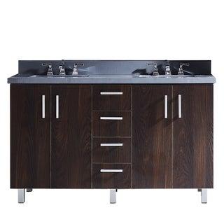 "60"" Bathroom Vanity with Grey Artificial Marble Top in Brown Elm Wood Texture Finish"