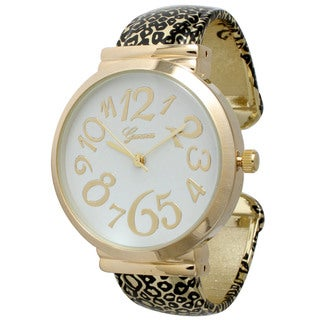 Olivia Pratt Women's Polished Animal Print Metal Alloy Cuff Watch