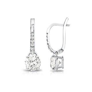 Auriya 14k Gold 3/4ct TDW Round Diamond Dangle Earrings