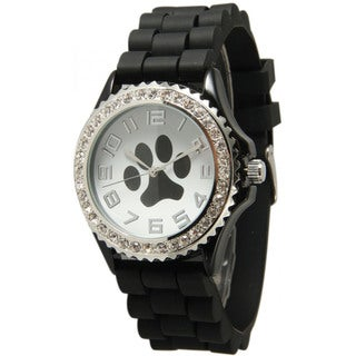 Olivia Pratt Women's Rhinestone Silicone Paw Watch