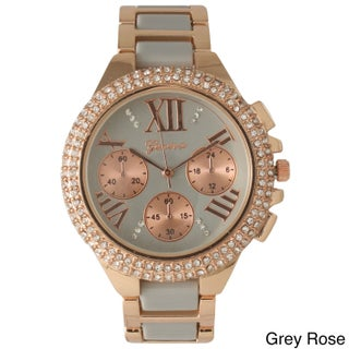 Olivia Pratt Women's Two-tone Metal Alloy and Rhinestone-accented Bracelet Watch (Option: GreyRose)