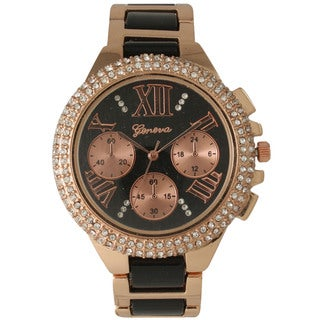 Olivia Pratt Women's Two-tone Metal Alloy and Rhinestone-accented Bracelet Watch