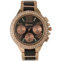 Olivia Pratt Women's Two-tone Metal Alloy and Rhinestone-accented Bracelet Watch
