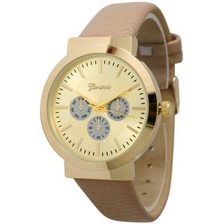Olivia Pratt Women's Elegant Pebbled Leather Goldtone Bezel Fashion Watch