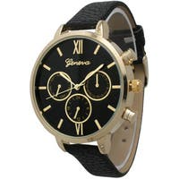Olivia Pratt Women's Vintage-style Pebbled Leather and Stainless Steel Petite Watch