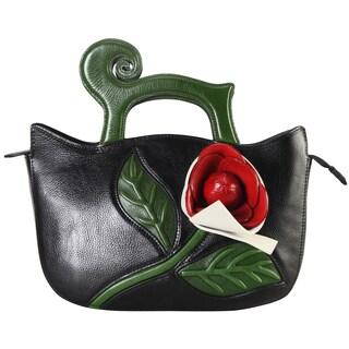 Pijushi Women's Leather Designer-inspired Flower Satchel Handbag