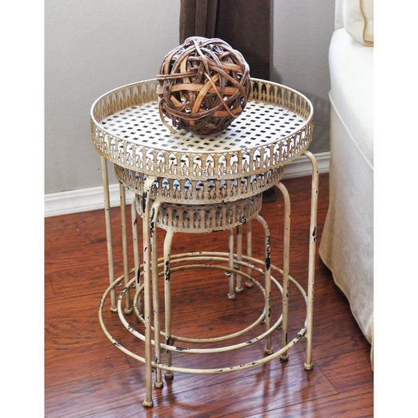 Pyper Marketing Off-white Antiqued Metal Tables (Set of 3)