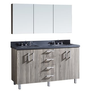 """60"""" Bathroom Vanity with Grey Artificial Marble Top in Grey Walnut WoodTexture Finish with matching Medicine Cabinet"""