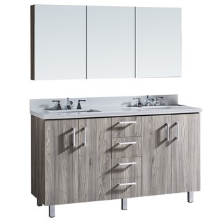 """60"""" Bathroom Vanity with Phoenix White Artificial Marble Top in Grey Walnut Wood Texture Finish with matching Medicine Cabinet"""