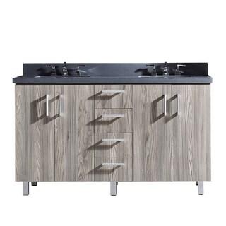 "60"" Bathroom Vanity with Grey Artificial Marble Top in Grey Walnut Wood Texture Finish"