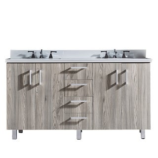 """60"""" Bathroom Vanity with Phoenix White Artificial Marble Top in Grey Walnut Wood Texture Finish"""
