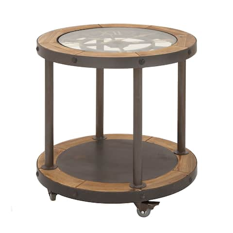 Urban Designs Clock Top Industrial Round Accent Table