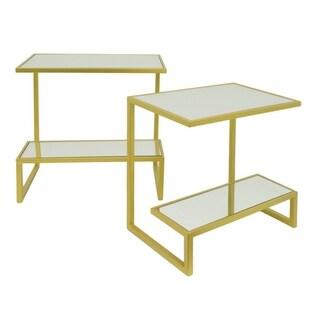 Three Hands Gold-tone Metal Rectangular 2-tier Mirror Top Table (Set of 2)