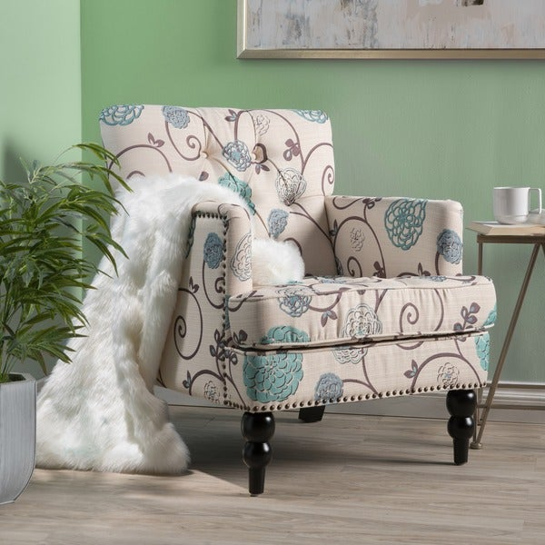 Harrison Floral Fabric Tufted Club Chair by Christopher Knight Home. Opens flyout.
