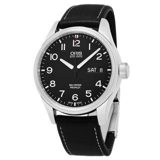Oris Men's 752 7698 4164 LS 19 'Big Crown' Black Dial Black Leather Strap Swiss Automatic Watch