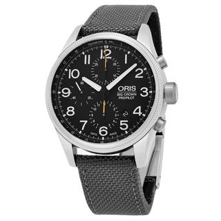 Oris Men's 774 7699 4134 LS 17 'Big Crown' Black Dial Grey Textile Strap Chronograph Swiss Automatic Watch