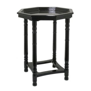 Three Hands Gloss Black Wood Side Table