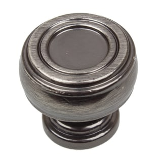 GlideRite 1.125-inch Diameter Bold Round Barrel-shaped Brushed Pewter Cabinet Knobs (Pack of 10 or 25)