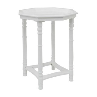 Three Hands Gloss White Wood Side Table