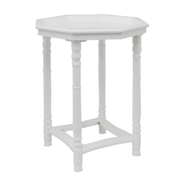 Merveilleux Three Hands Gloss White Wood Side Table