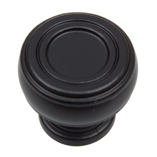 GlideRite 1.125-inch Diameter Bold Round Barrel-shaped Matte Black Cabinet Knobs (Pack of 10 or 25)