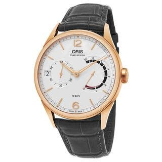 Oris Men's 111 7700 6061 LS 78 'Artelier' Silver Dial Grey Leather Strap 18k Rose Gold Power Reserve Swiss Automatic Watch|https://ak1.ostkcdn.com/images/products/12863895/P19625770.jpg?impolicy=medium