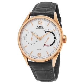 Oris Men's 111 7700 6061 LS 78 'Artelier' Silver Dial Grey Leather Strap 18k Rose Gold Power Reserve Swiss Automatic Watch
