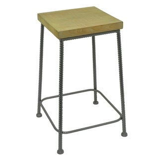 Three Hands Wood and Metal End Table with Rebar Detailing