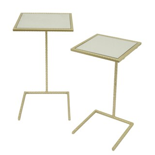 Three Hands Champagne Metal Mirror Top Accent Table (Set of 2)